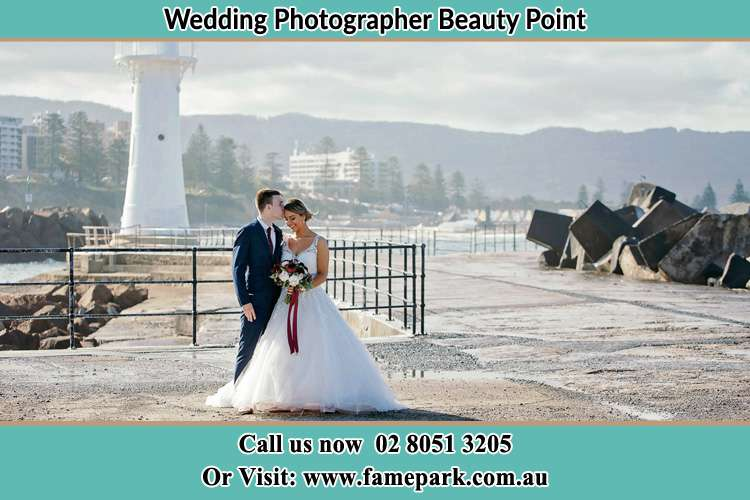 Photo of the Bride and Groom at the Watch Tower Beauty Point NSW 2088