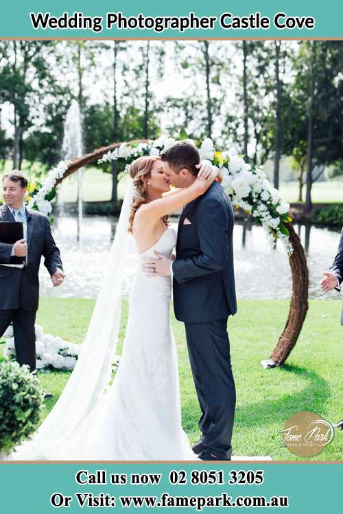 Photo of the Bride and the Groom kissing Castle Cove NSW 2069