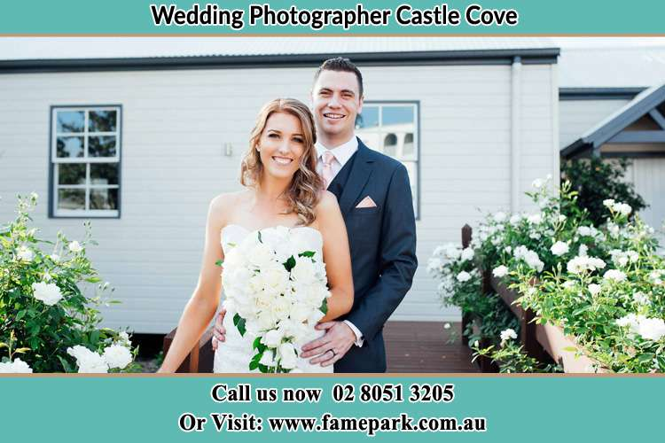 Photo of the Bride and the Groom at the front house Castle Cove NSW 2069