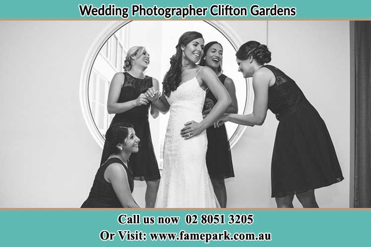 Photo of the Bride and the bridesmaids near the window Clifton Gardens NSW 2088