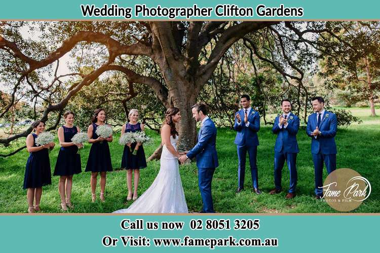 Photo of the Groom and the Bride with the entourage Clifton Gardens NSW 2088
