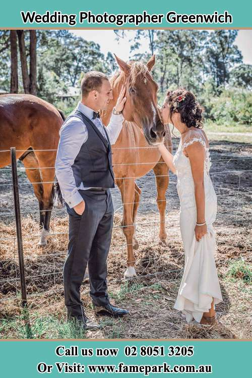 Photo of the Groom and the Bride caressing a horse Greenwich NSW 2065