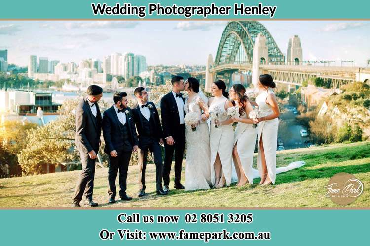 Photo of the Groom and the Bride with the entourage near the bridge Henley NSW 2111