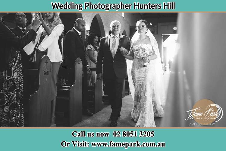 Photo of the Bride with her father walking the aisle Hunters Hill NSW 2110