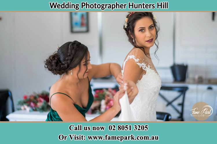 Photo of the Bride and the bridesmaid preparing Hunters Hill NSW 2110