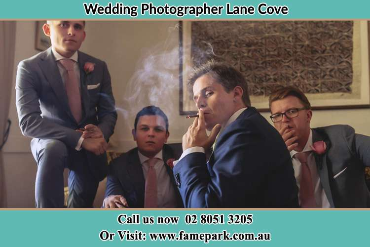 Photo of the Groom and the groomsmen relaxing Lane Cove NSW 2066