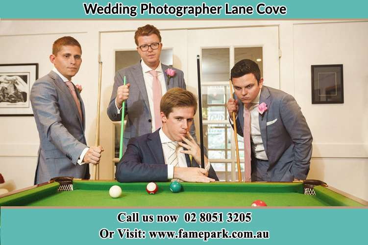 Photo of the Groom and the groomsmen playing billiard Lane Cove NSW 2066