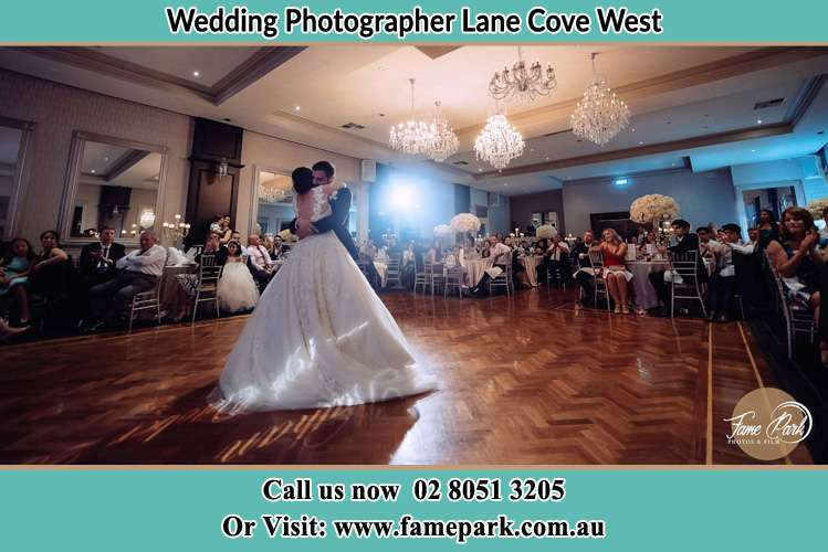 Photo of the Bride and the Groom hugging on the dance floor Lane Cove West NSW 2066