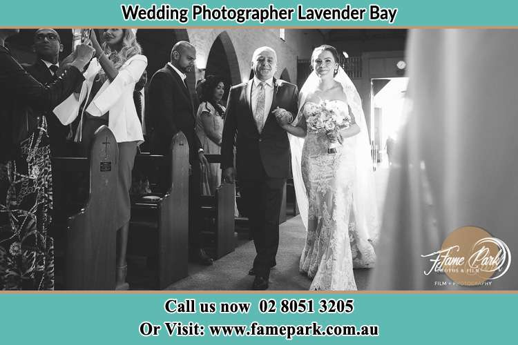 Photo of the Bride with her father walking the aisle Lavender Bay NSW 2060