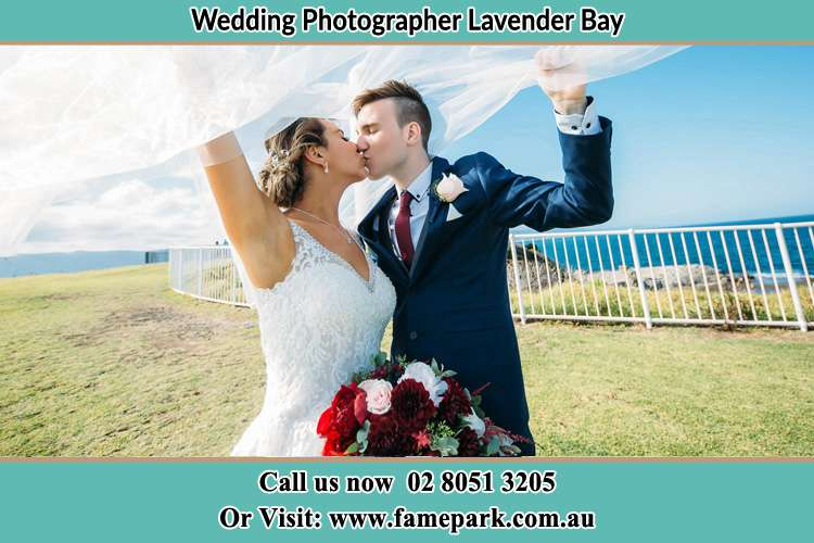 Photo of the Bride and the Groom kissing at the yard Lavender Bay NSW 2060