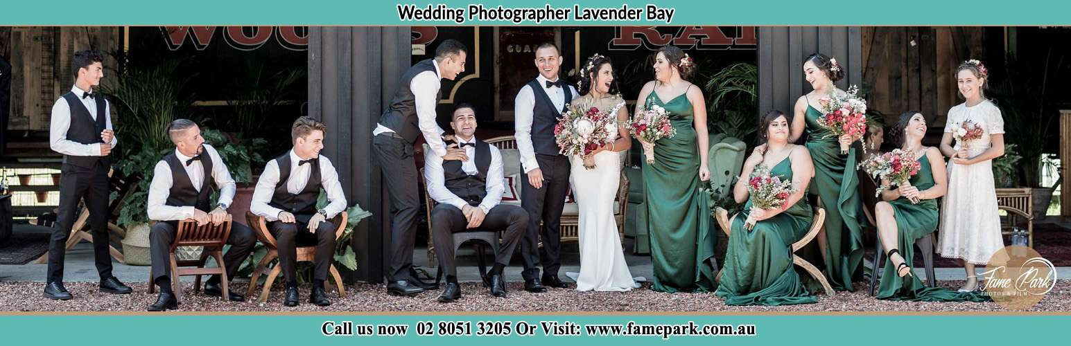 The Bride and the Groom with their entourage pose for the camera Lavender Bay NSW 2060