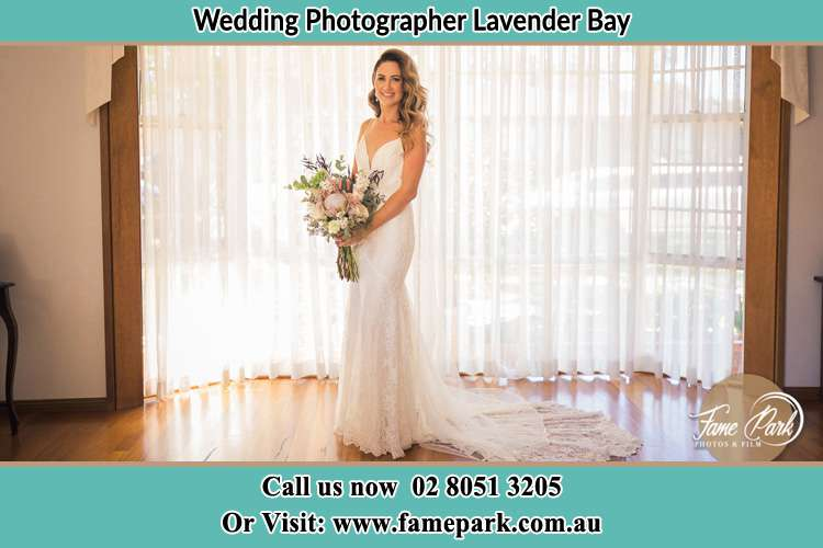 Photo of the Bride holding flower bouquet Lavender Bay NSW 2060