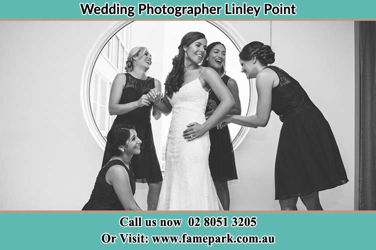 Photo of the Bride and the bridesmaids near the window Linley Point NSW 2066
