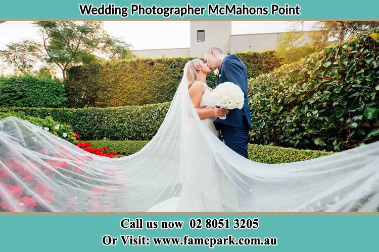 Photo of the Bride and the Groom kissing at the garden McMahons Point NSW 2060