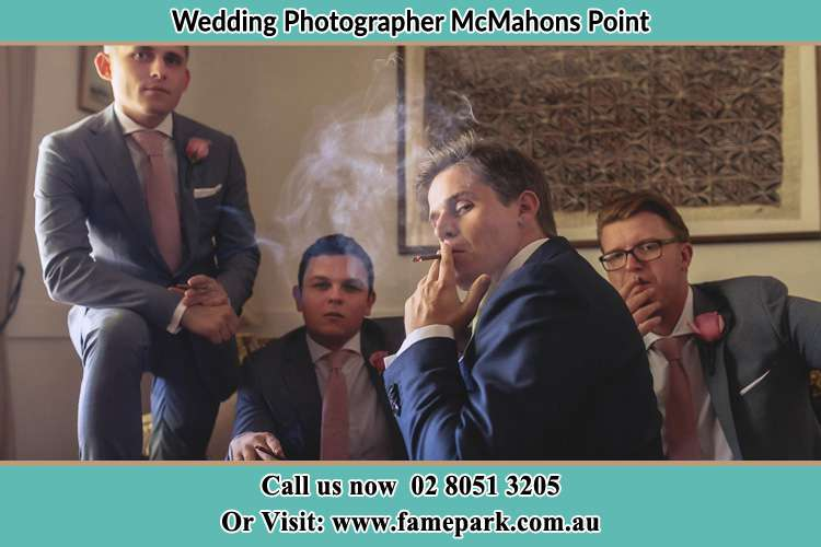 Photo of the Groom and the groomsmen relaxing McMahons Point NSW 2060