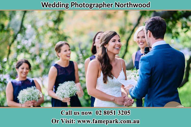 Photo of the Groom testifying love to the Bride Northwood NSW 2066