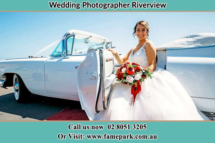 Photo of the Bride outside the bridal car Riverview NSW 2066