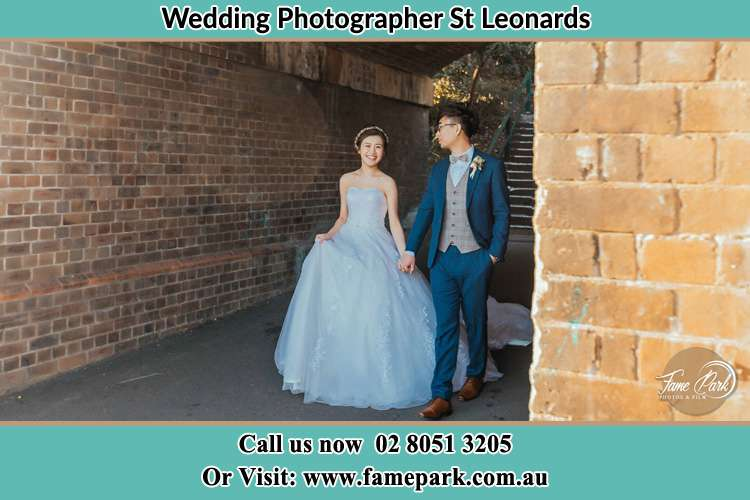 Photo of the Bride and the Groom walking St Leonards NSW 2065