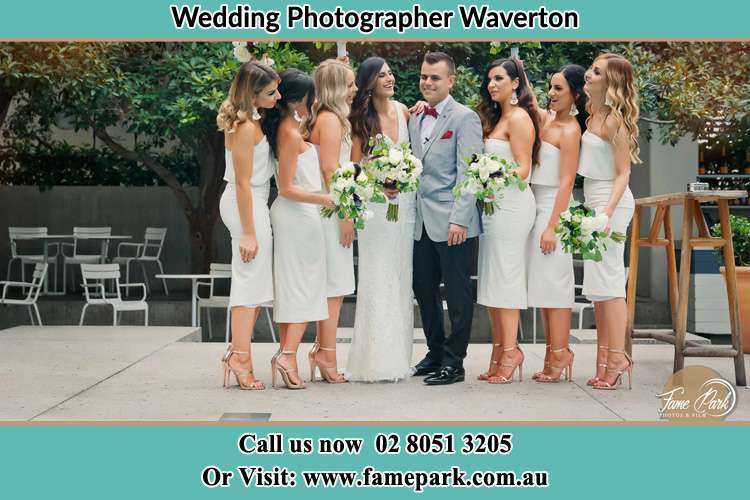 Photo of the Bride and the Groom with the bridesmaids Waverton NSW 2060