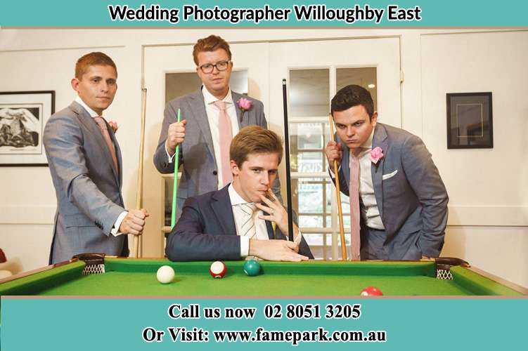 Photo of the Groom and the groomsmen playing billiard Willoughby East NSW 2068